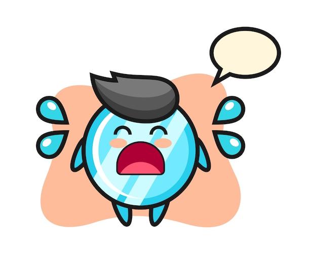 Ilustração dos desenhos animados do espelho com gesto de choro
