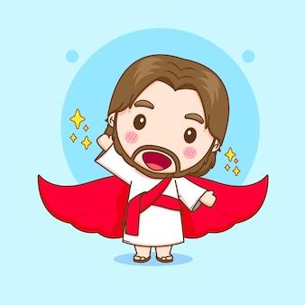Ilustração dos desenhos animados do fofo jesus com manto vermelho