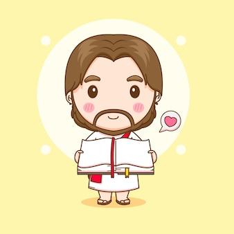 Ilustração dos desenhos animados do fofo jesus segurando a bíblia