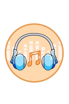 Ilustração dos desenhos animados do fone de ouvido com ícone de notas musicais