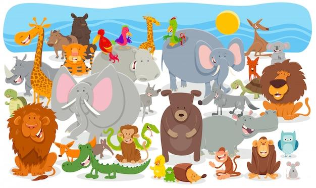 Ilustração dos desenhos animados do fundo de personagens animais