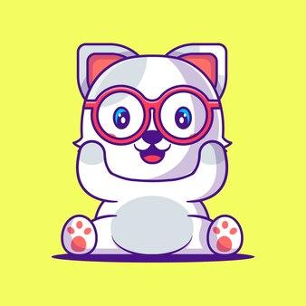 Ilustração dos desenhos animados do gato bonito feliz. animal and education flat cartoon style concept