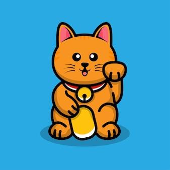 Ilustração dos desenhos animados do gato da sorte