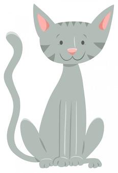 Ilustração dos desenhos animados do gato feliz cinza