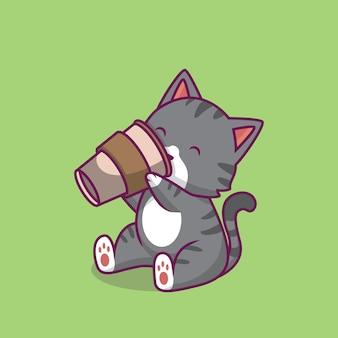 Ilustração dos desenhos animados do gato fofo bebendo café