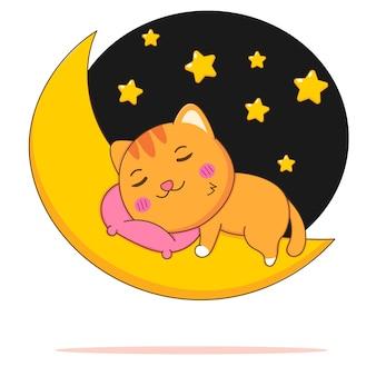 Ilustração dos desenhos animados do gato fofo dormindo na lua com o travesseiro