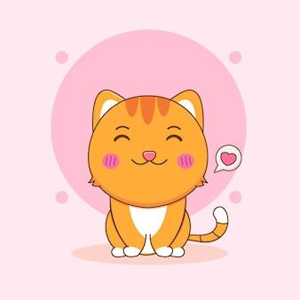 Ilustração dos desenhos animados do gato fofo e doce sentado no personagem com amor