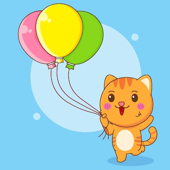 Ilustração dos desenhos animados do gato fofo segurando balões coloridos
