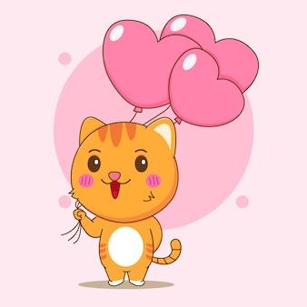 Ilustração dos desenhos animados do gato fofo segurando balões do amor