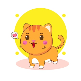 Ilustração dos desenhos animados do gato fofo