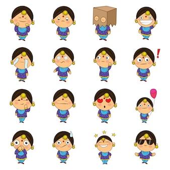 Ilustração dos desenhos animados do grupo da mulher do punjabi.