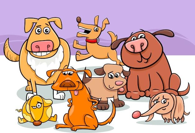 Ilustração dos desenhos animados do grupo de cães