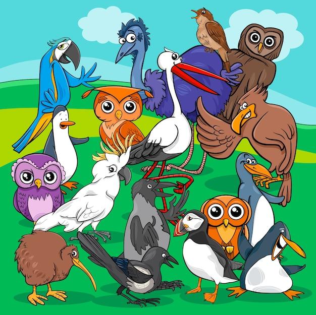 Ilustração dos desenhos animados do grupo de pássaros