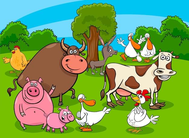 Ilustração dos desenhos animados do grupo de personagens de animais de fazenda
