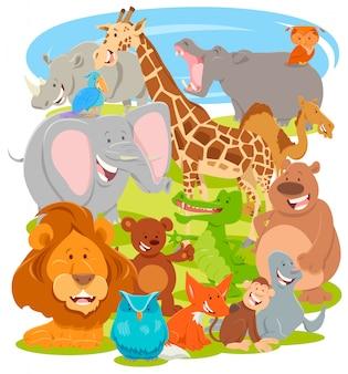 Ilustração dos desenhos animados do grupo de personagens de animais