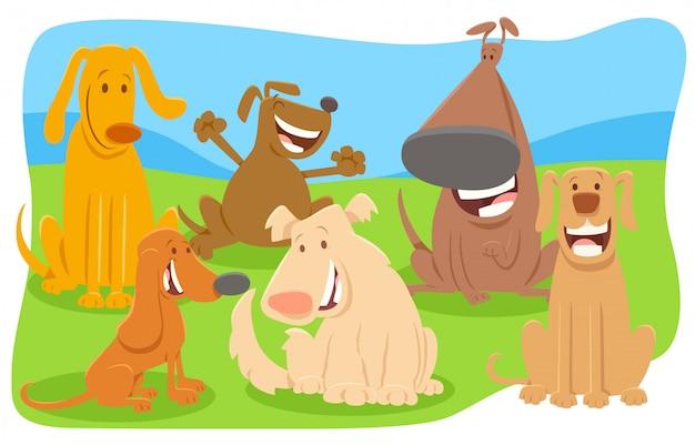 Ilustração dos desenhos animados do grupo de personagens de cães feliz