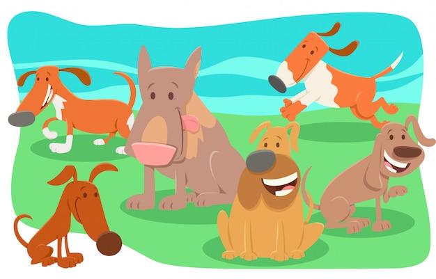 Ilustração dos desenhos animados do grupo de personagens de cães