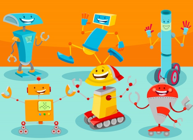 Ilustração dos desenhos animados do grupo de personagens de robôs
