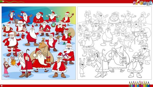 Ilustração dos desenhos animados do grupo de personagens do papai noel na página do livro para colorir da época do natal