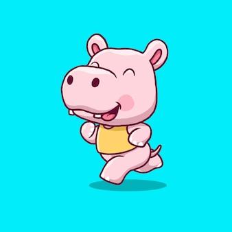 Ilustração dos desenhos animados do hipopótamo fofo correndo