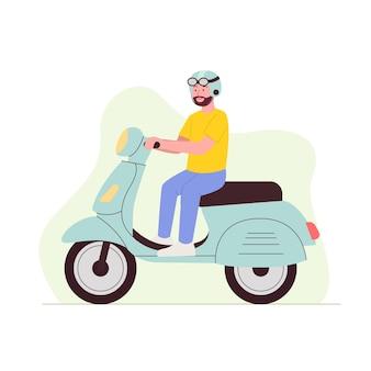 Ilustração dos desenhos animados do homem andando de scooter motor plana