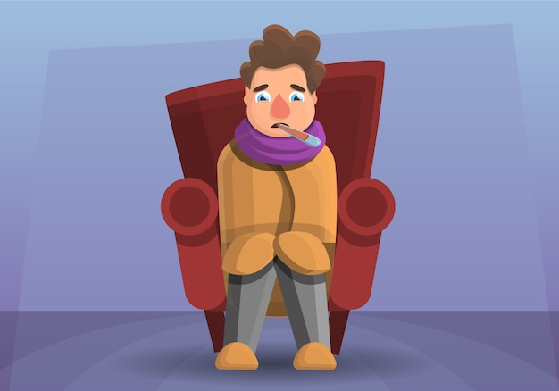 Ilustração dos desenhos animados do homem da gripe no sofá