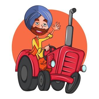 Ilustração dos desenhos animados do homem do punjabi no trator.