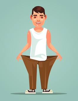 Ilustração dos desenhos animados do homem magro forte e sorridente feliz