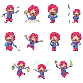 Ilustração dos desenhos animados do homem rajput