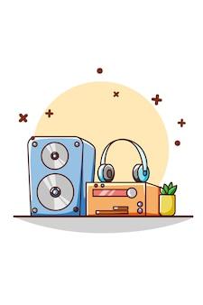 Ilustração dos desenhos animados do ícone de alto-falante, fone de ouvido e mecanismo de música