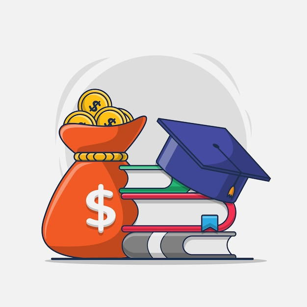 Ilustração dos desenhos animados do ícone de educação com bolsa de estudos