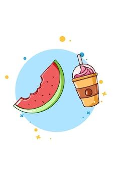 Ilustração dos desenhos animados do ícone de melancia com bebida de gelo
