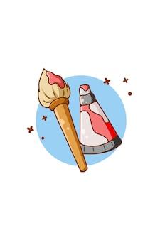 Ilustração dos desenhos animados do ícone de pincel e pintura