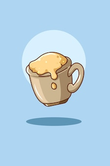 Ilustração dos desenhos animados do ícone do café doce