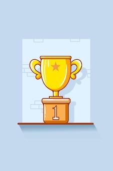 Ilustração dos desenhos animados do ícone do troféu número um