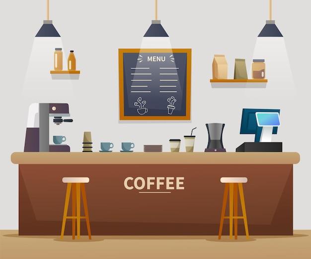 Ilustração dos desenhos animados do interior da cafeteria