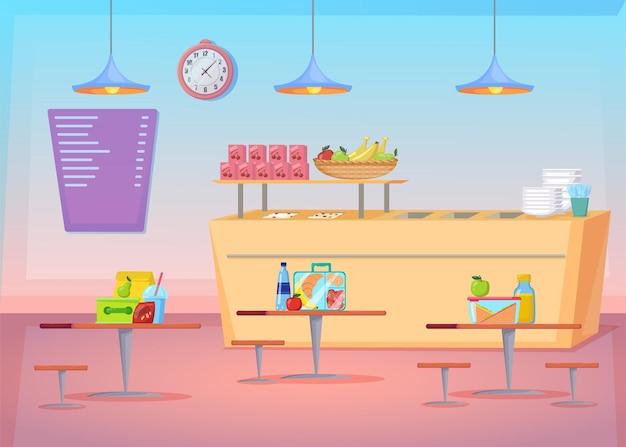 Ilustração dos desenhos animados do interior da cantina vazia e aconchegante