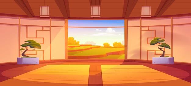 Ilustração dos desenhos animados do interior do quarto dojo.