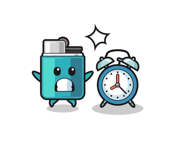 Ilustração dos desenhos animados do isqueiro é surpreendida com um despertador gigante, design bonito