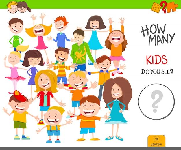 Ilustração dos desenhos animados do jogo de contagem educacional para crianças