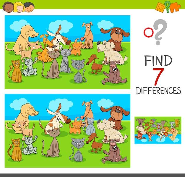 Ilustração dos desenhos animados do jogo de encontrar diferenças