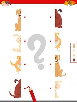 Ilustração dos desenhos animados do jogo de metades matching