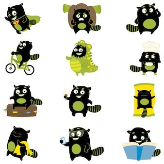 Ilustração dos desenhos animados do jogo monstro preto.