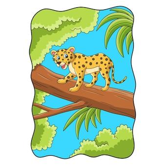 Ilustração dos desenhos animados do leopardo caminhando sobre um grande tronco de árvore no meio da floresta