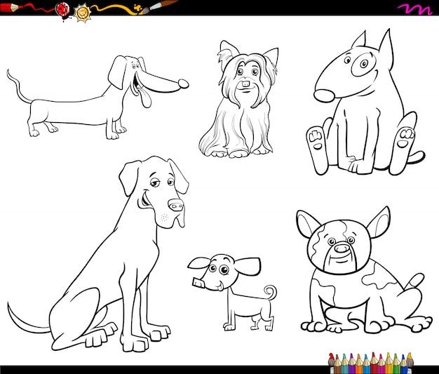 Ilustração dos desenhos animados do livro de cor de cães de raça pura