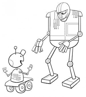 Ilustração dos desenhos animados do livro de cor de robôs falando
