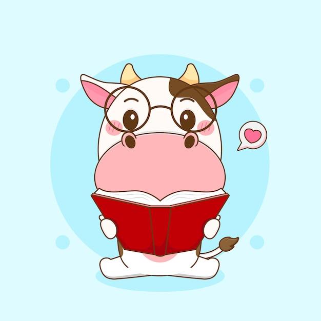 Ilustração dos desenhos animados do livro de leitura da vaca fofa