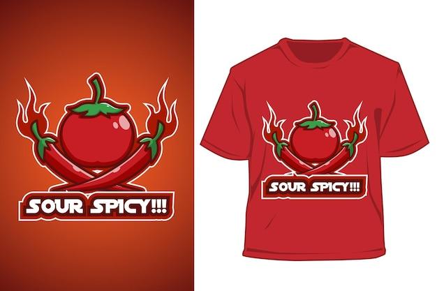 Ilustração dos desenhos animados do logotipo da camiseta com tomate e pimentão