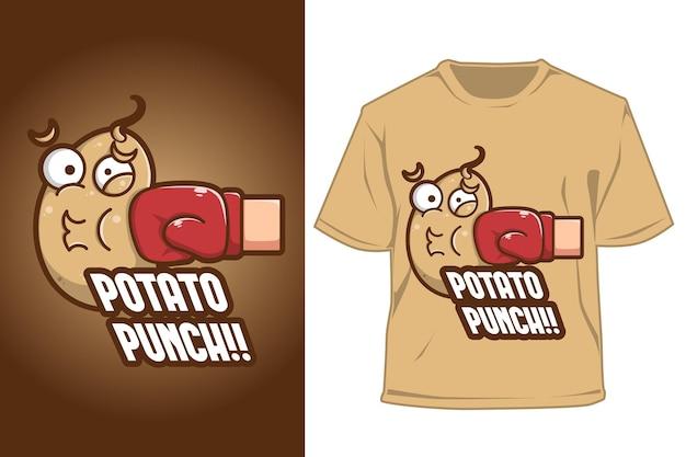 Ilustração dos desenhos animados do logotipo do ponche de batata com camiseta