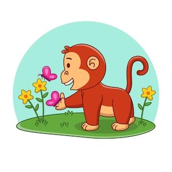 Ilustração dos desenhos animados do macaco fofo e da borboleta